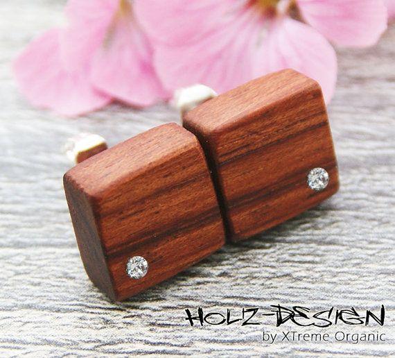 Pendientes cuadrado hecho de madera con Swarovski R