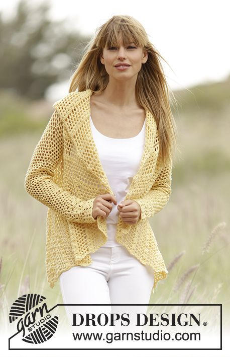"""Oasis - Jacket worked in a circle with lace and fan pattern in """"Baby Merino"""". Free #crochet pattern by DROPS Design"""