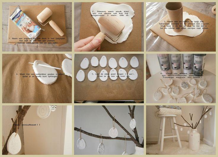 Made with your own love!: Paasdecoratie met nieuwe DIY: eitjes maken van zelfdrogende klei! #eieren #zelfdrogende klei #DIY