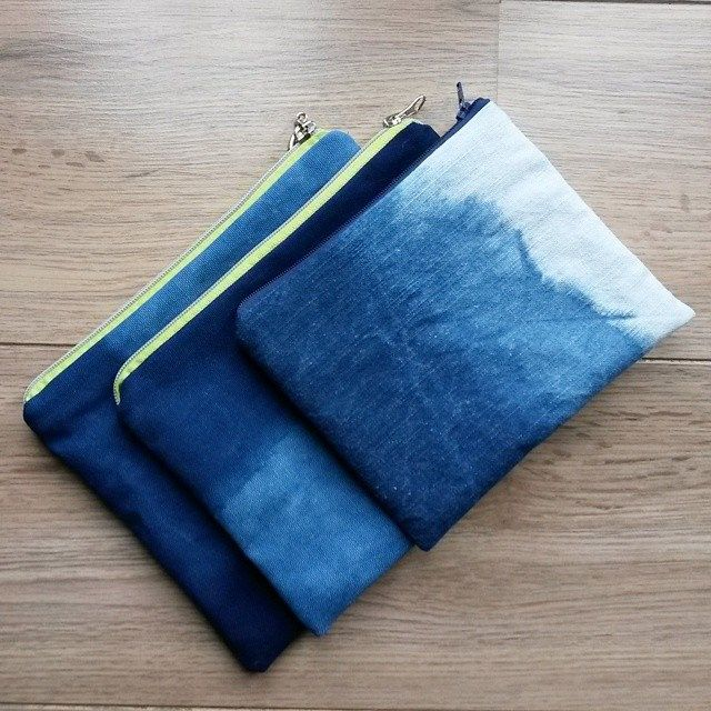 indigo dyed pouches by red2white