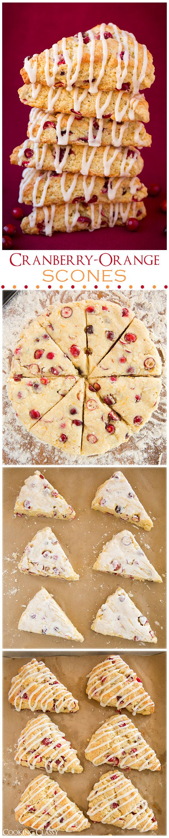 Cranberry Orange Scones with Vanilla Cream Glaze - These are so moist and full of flavor! Perfect for the season!