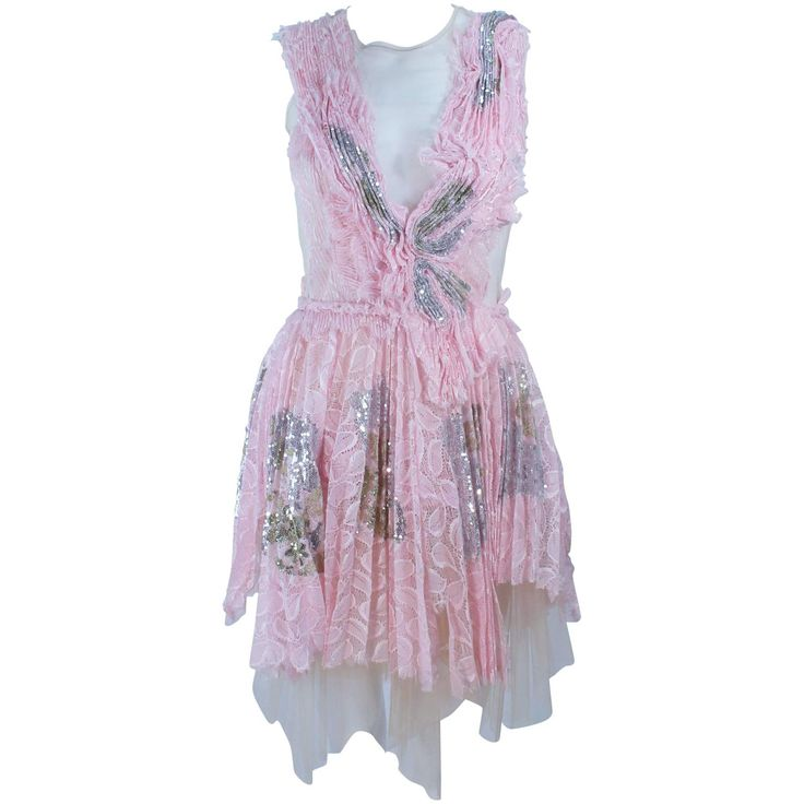 MORALES Sheer Pink Applique Cocktail Dress with Sequins Size 2 | From a collection of rare vintage evening dresses and gowns at https://www.1stdibs.com/fashion/clothing/evening-dresses/