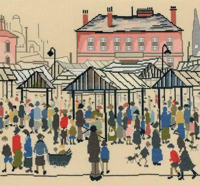 Market Scene Cross Stitch (L.S. Lowry)  by Bothy Threads.