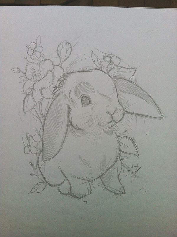 Process of creating my rabbit tattoo design.Tuesday 1st April, 2014.