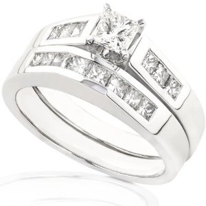 7/8ctw Princess Cut Diamond Wedding Ring Set in 14K White Gold (HI/I1) (Jewelry)  http://documentaries.me.uk/other.php?p=B0018SK35A  B0018SK35A