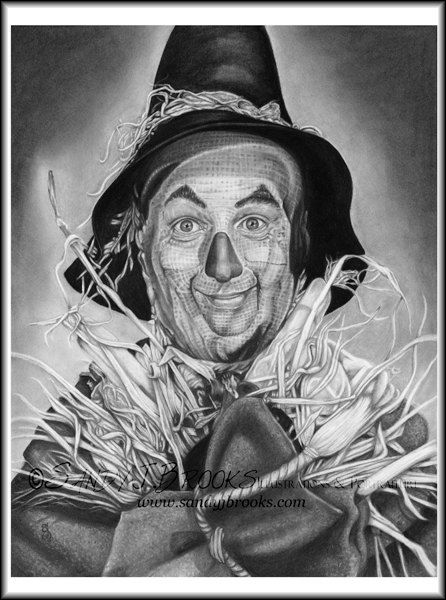 Original Artwork Ray Bolger Scarecrow Wizard of Oz Drawing Charcoal Graphite Signed on Etsy, $99.00