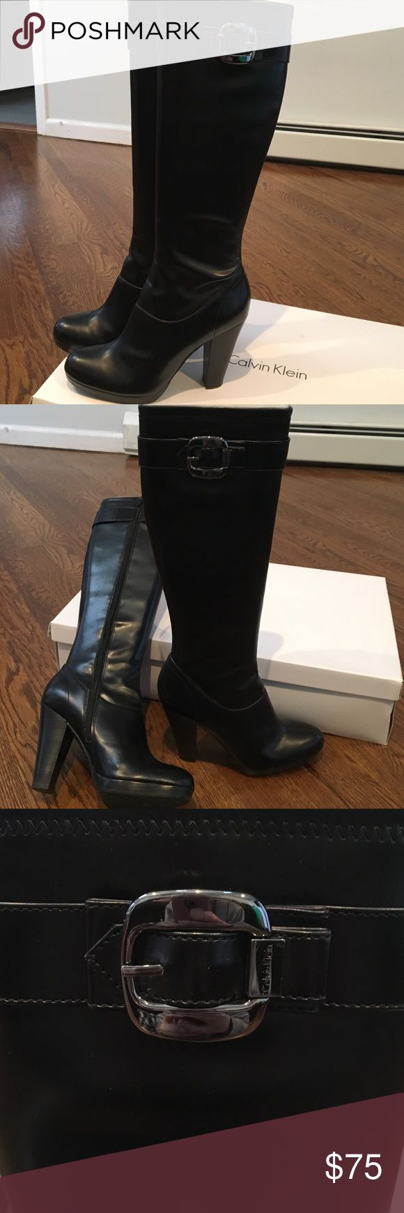 "Calvin Klein Mattie Stretch heeled boots Approximate 4"" heel.  Buckle on the tops of the boots.  Zippered opening.  Stretch boot Calvin Klein Shoes Heeled Boots"