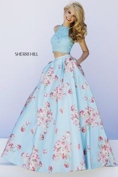 Sherri Hill 32216 Light Blue Floral Print 2PC Prom Dress at RissyRoos.com.