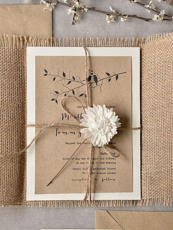 Birds In Love Invitation, Eco Recycling Invitations, Burlap Wedding Invitations , Rustic Wedding invitation, Tree Invitation