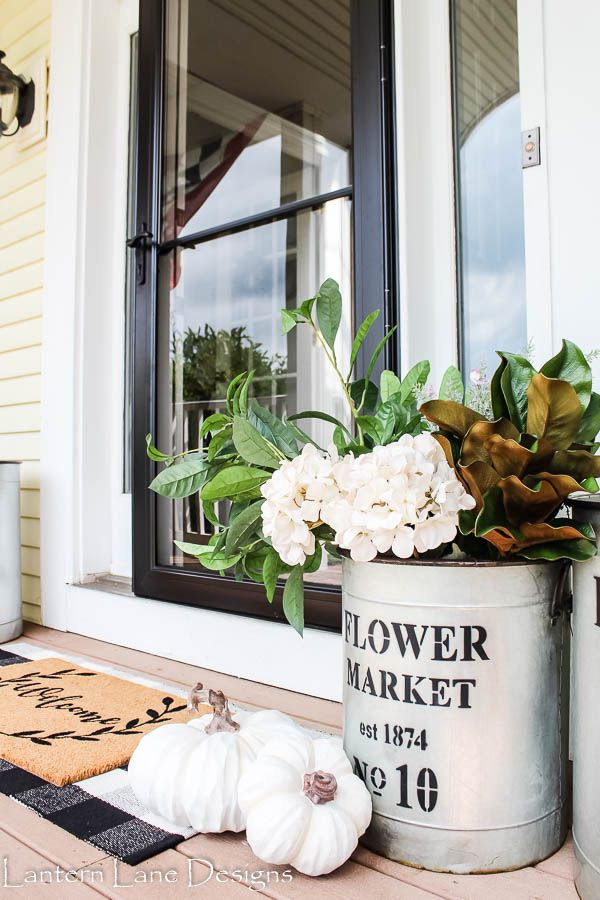 Fall Front Porch Planter Ideas Using Fake Flowers   Front ... on house front porch ideas, house front patio ideas, house front wall ideas, house front garden ideas,