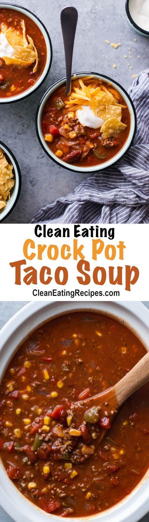 This Clean Eating taco soup recipe is full of flavor and my children love it! I love how it's really healthy and easy to make in the crock pot and the leftovers are even better than the first day.
