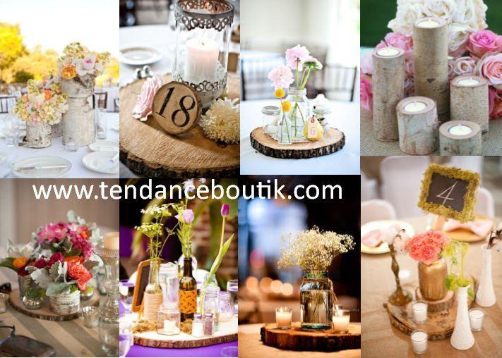 centre de table rondin de bois pour d coration de mariage rustique tendance boutik