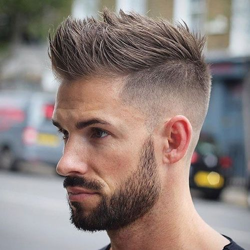 High Fade + Spiky Hair + Full Beard