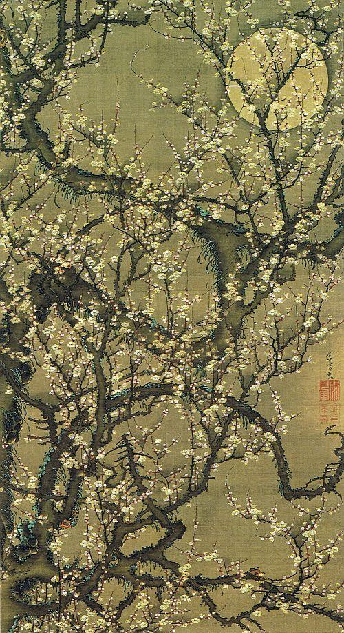 """動植綵絵 第一期(1757-1760), 08. 梅花皓月図[ばいか こうげつ ず], """"Pictures of the Colorful Realm of Living Beings"""", Jakuchu Ito"""
