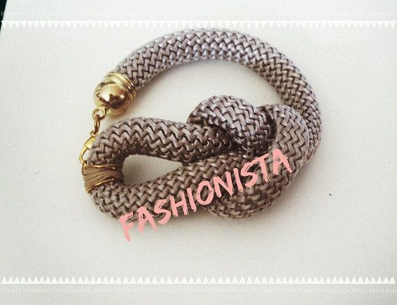 Grey bracelet with knot from soft climbing cord  choose by bizeli
