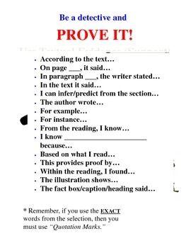 Textual Evidence Anchor Chart