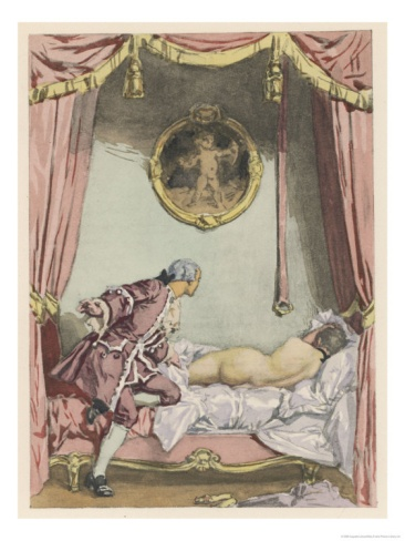 Giovanni Giacomo Casanova Italian Adventurer, He Finds Zeroli Asleep. Watercolor by Auguste Leroux (1871-1954)  from the 1932 French edition of Casanova's Histoire de ma Vie.