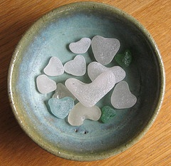 "Original pinner said ""Fragile hearts...Out of hundreds of pieces of beach glass that I find, there's usually one that makes it to this bowl of hearts and they are well worth the wait. "" Photo by Green Wellies on Flickr."