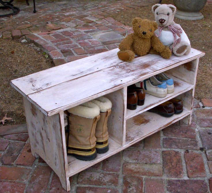 Wood Shelf, Storage - Shoe Bench - Entryway - Hall - Shoe Storage. $250.00, via Etsy.