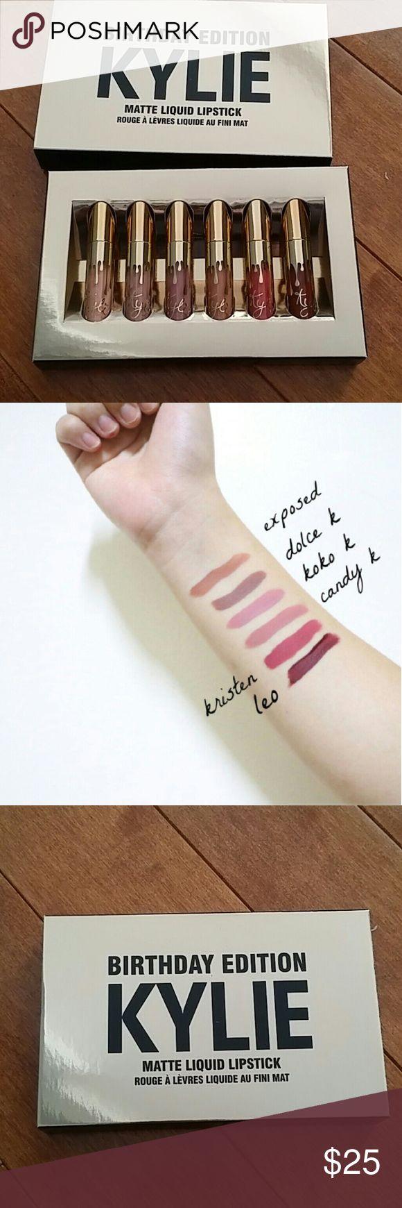 Kylie Birthday Edition mini matte liquid lipsticks Kylie 19th Birthday Edition six mini matte liquid lipsticks. Kylie Cosmetics Makeup Lip Balm & Gloss