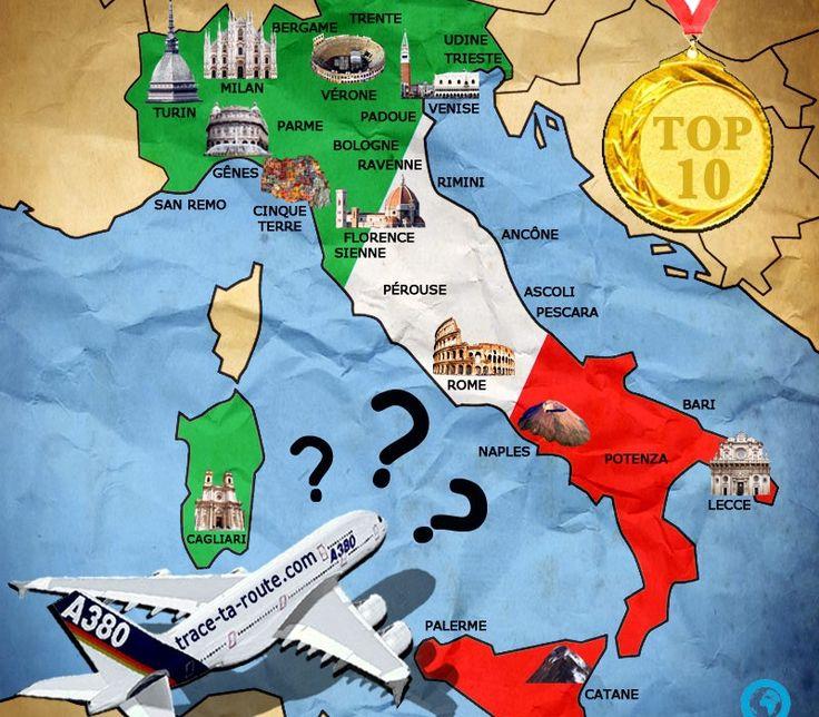 #Carte d'#Italie avec les #villes et les #monuments #TOP10 #visite #CityTrip #Blog #Voyage #Travel #TraceTaRoute