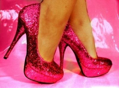hot pink glittery heels
