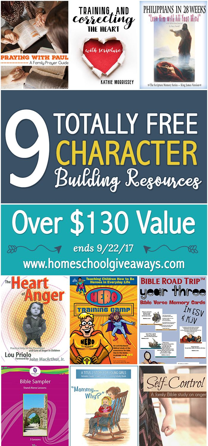 ENDS 9/22/17! Get 9 FREE Character Building Bible Resources -- Over $130 in Value!