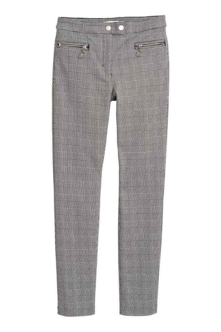 Pantalon stretch habillé - Motif pied-de-poule - FEMME | H&M FR