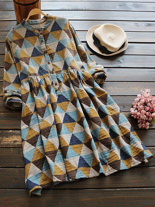 Stand Neck Argyle Dress - COLORMIX ONE SIZE
