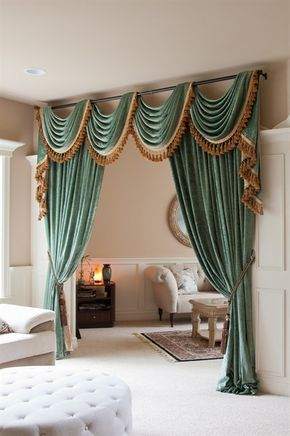Green Chenille Swag Valance Curtain Sets Double-sided chenille 90''-120'' Luxury green chenille flip pole swag valance is flexible in adjusting width to fit the windows. The curtain set combines frivolous extravagance and modern simplicity.