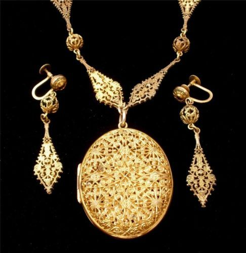 Lavalier Locket Necklace Antique Filigree Set Earrings Gilded Demi Art Deco | eBay