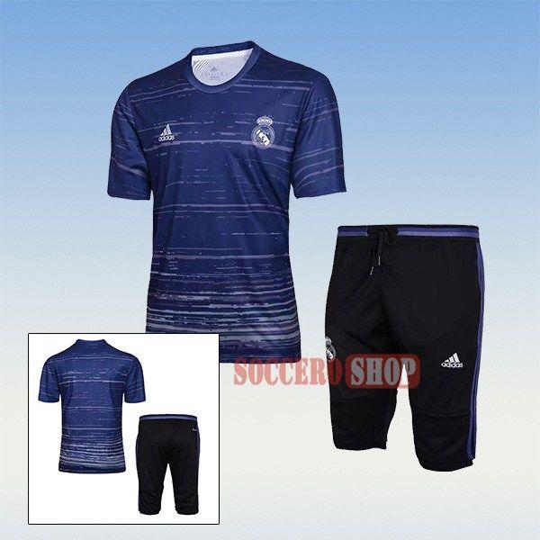Design Thai Quality Pre-Match Real Madrid Navy Blue Training Jersey Kits + 3/4 Training Pants 2017 2018