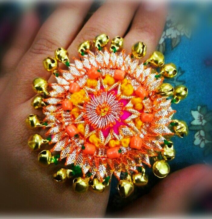 Ghungroo Flower Ring. For more designs, like my facebook page Rainbow Dazzle Gota Jewellery https://www.facebook.com/pages/Rainbow-Dazzle/461994940500930