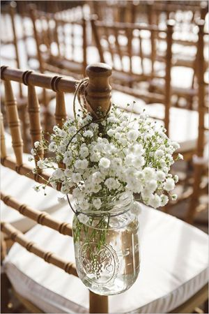 babys breath in mason jars rustic themed wedding chair decoration ideas