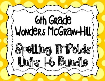 These spelling trifolds are based on the 6th grade Wonders McGraw-Hill reading series. This is a weekly trifold to send home with your students and provide practice with their spelling words. Each week's trifold is two pages, and I copy it front/back.