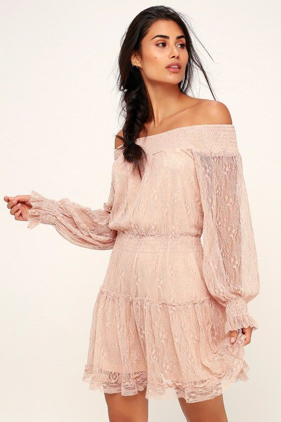 0313c68c0187 The Lulus Dreams of Romance Blush Pink Lace Off-the-Shoulder Dress evokes  sweet memories! Lace-like overlay shapes this long sleeve OTS dress with  smocking.
