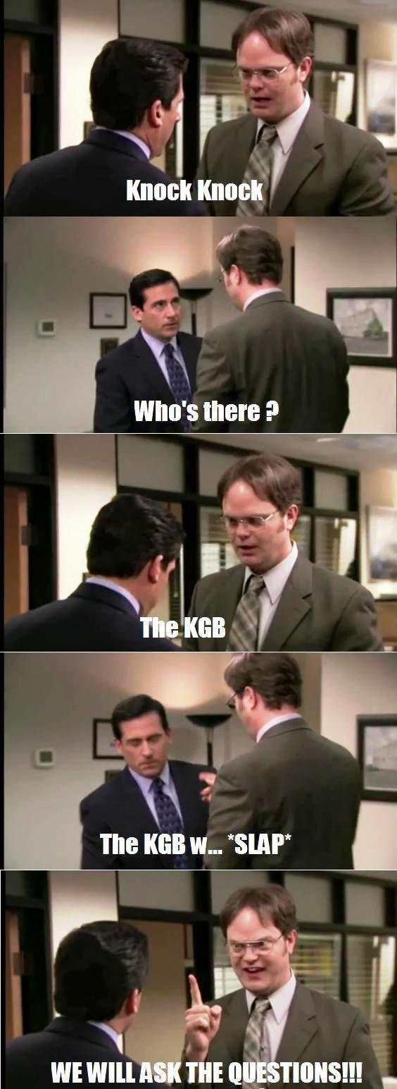 Dwights Best Knock Knock Joke Knock Knock Jokes Funny Jokes To Tell Office Quotes