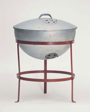 The Weber Kettle was born and introduced in 1952 (shown at right). Among its innovations was a tight-fitting lid and adjustable air vents that allowed the cook to control temperature. Much of the early marketing involved touting the merits of covered barbecuing.  The system is efficient, burning a minimum number of briquets during cooking. Probably no other single invention has influenced the American diet more since the invention of the electric refrigerator.