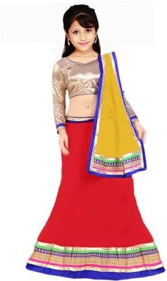 b97c78f49481 PURVA ART Girls Lehenga Choli Ethnic Wear Self Design Lehenga