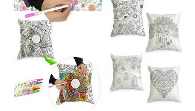 Buy DIY Colouring Cushion Set with 12 Colouring Pens UK deal for just: £9.99 Enjoy a soft touch and your own unique colour scheme with the DIY Colouring Cushion Set      Decorate a variety of patterns in your own creative way      Invisible zipper means you can insert / remove cushions without compromising your design      Supplied with 12 vibrant colouring pens      Cover measures 45cm x...