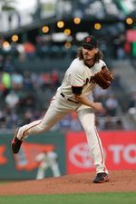 Aug 22, 2017; San Francisco, CA, USA; San Francisco Giants starting pitcher Jeff Samardzija (29) throws to the Milwaukee Brewers in the first inning of their MLB baseball game at AT&T Park. Mandatory Credit: Lance Iversen-USA TODAY Sports