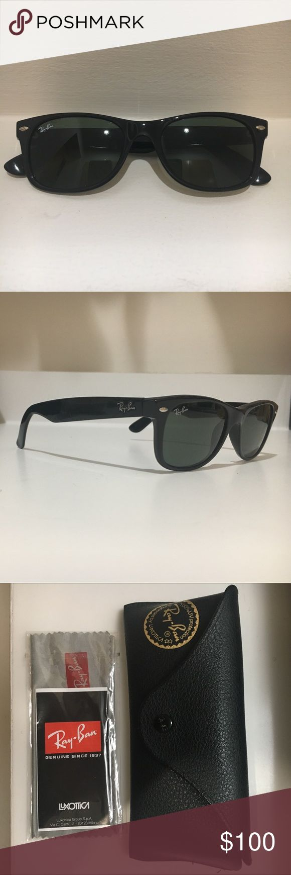 Ray-Ban Wayfarer Sunglasses Size 52 Black Like New Black Ray-Ban Wayfarer sunglasses. Lightly used, like new. With original free case and cleaning cloth. Case has slight tear in corner. Ray-Ban Accessories Sunglasses