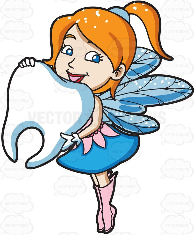 A charming fairy holding a big tooth #cartoon #clipart #vector #vectortoons #stockimage #stockart #art