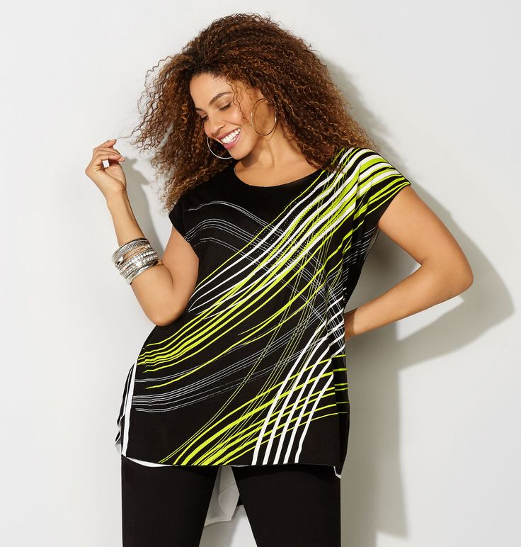 Shop new mixed knit and woven tops with modern linear designs like our plus size Linear Asymmetrical 2fer Top available online at avenue.com. Avenue Store