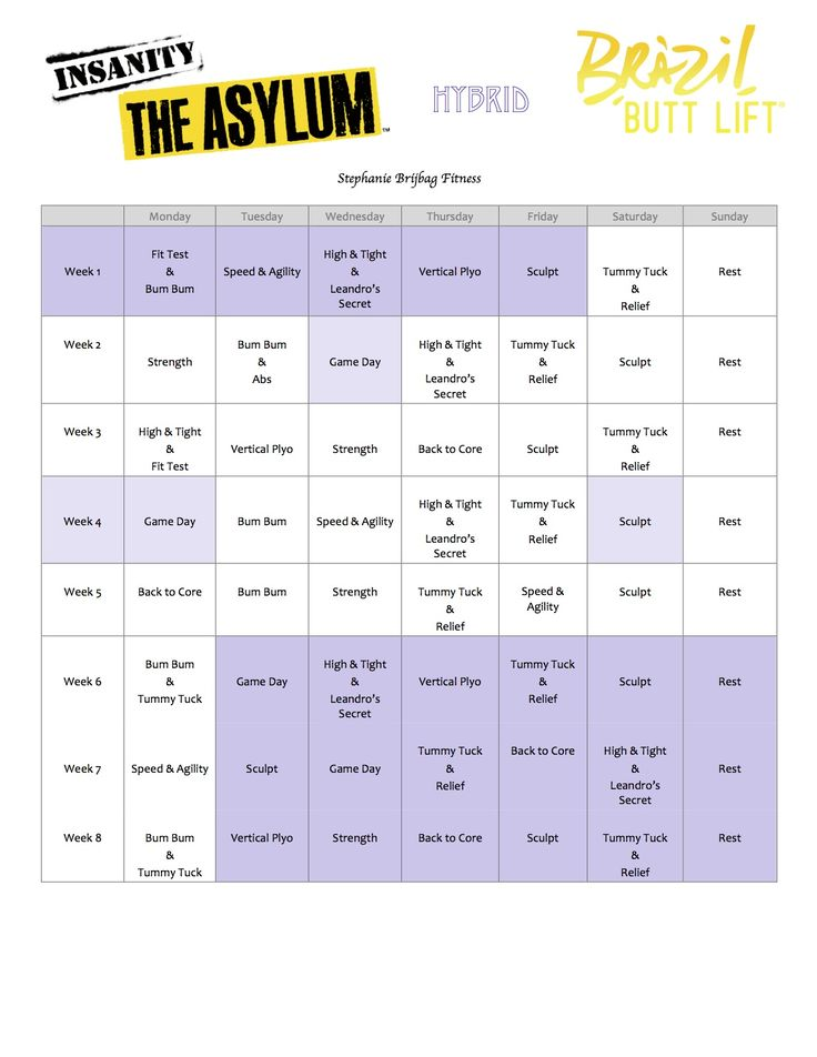 insanity asylum workout schedule pdf
