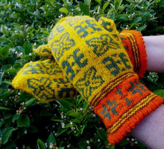 hand knitted wool yellow green mittens by peonijahandmadeshop, $43.50