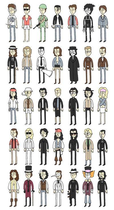 Johnny Depp Characters.   Prints by Derek Eads.