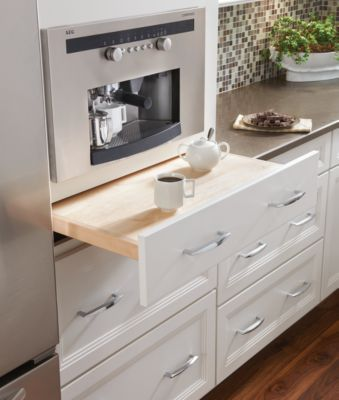 Pull-out work surface - Medallion Cabinetry - LOVE this and built in coffee maker.  Would this work for us?