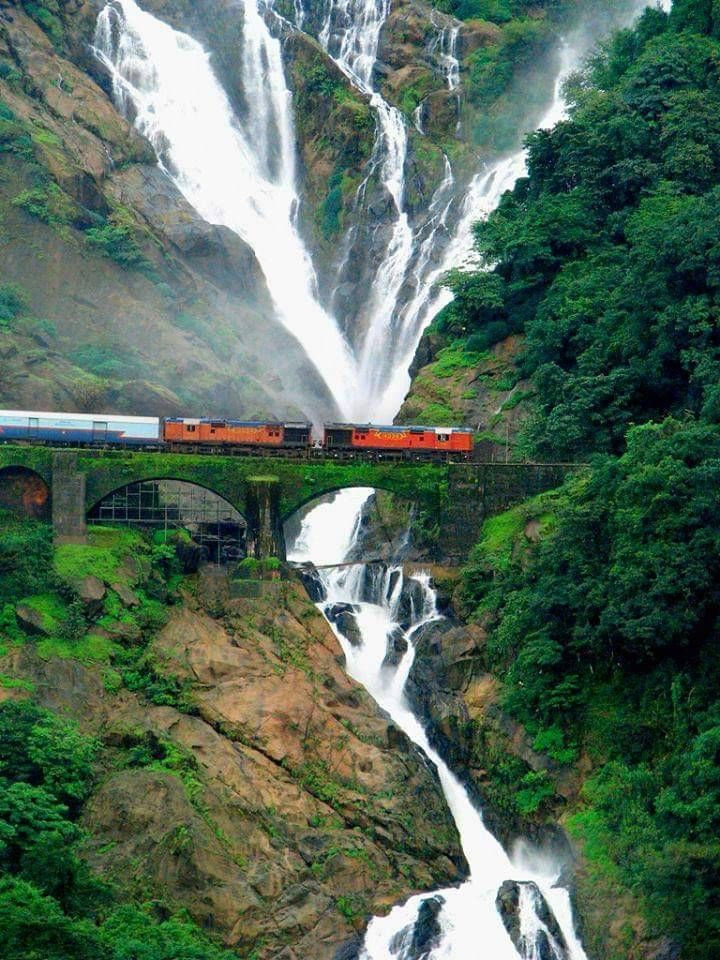 Image result for dudhsagar falls train