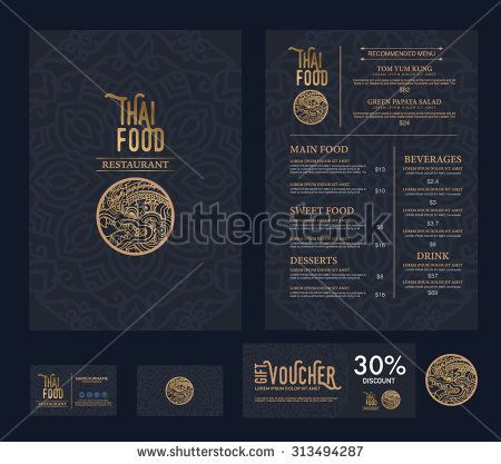 vector thai food restaurant menu template. - stock vector